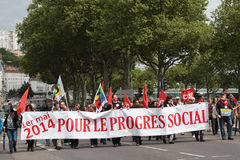 Demonstration for the Labor Day. LYON, FRANCE, MAY 1, 2014 : Trade-union demonstration of the Labor Day on Quais du Rhone. International Workers' Day is a Royalty Free Stock Photography