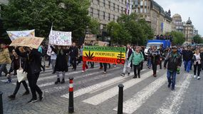 Demonstration for the legalization of marijuana, march of millions for marijuana in Prague 2019
