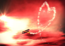 Demonstration of Love. Airshow with heart for lovely greetings Vector Illustration