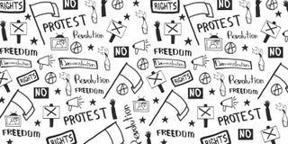 Demonstration, manifestation, protest, strike, revolution. Banner with hand-draw doodle elements on the background. royalty free illustration