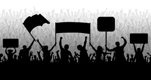 Demonstration, manifestation, protest, strike, revolution. Crowd of people with flags, banners. Sports, mob, fans. Demonstration and manifestation and protest vector illustration