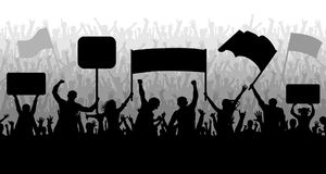 Demonstration, manifestation, protest, strike, revolution. Silhouette background vector. Crowd of people with flags, banners. Stock Images