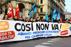 Demonstration in Milan against Renzi government's policies Royalty Free Stock Photography