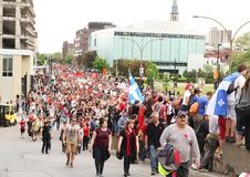 Demonstration at Montreal, Quebec stock image