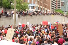 Demonstration in Montreal street royalty free stock photo