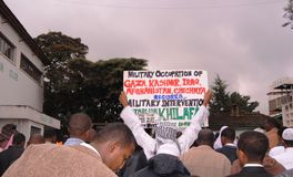 Demonstration by Muslims Africa, Nairobi Kenya. Demonstration against military occupation in Iraq, Afghanistan and call for Islamic caliphate Royalty Free Stock Image