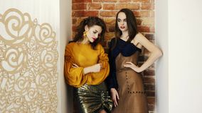 Demonstration of new clothes, luxurious professional models in elegant clothing posing on brick wall background in
