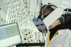 Demonstration of new developments in the virtual reality hardware Royalty Free Stock Image