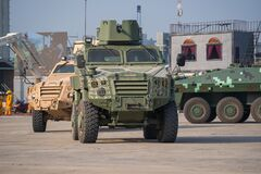Free Demonstration Of Armored Car Capability Of The R Oyal Thai Armed Forces At Defense And Security 2019 Stock Photo - 188098560