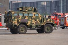 Free Demonstration Of Armored Car Capability Of The Royal Thai Armed Forces At Defense And Security 2019 Royalty Free Stock Photos - 188098588