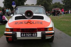 Demonstration of an old Porsche 911 which was in use at the highway police in the Netherlands royalty free stock image