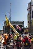Demonstration på tillfället av toppmötet G7 i Munich, Germa royaltyfri fotografi