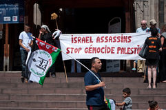 Demonstration for peace between Israel and Palestine, against the Israeli bombing in Gaza Royalty Free Stock Photography
