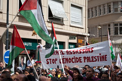 Demonstration for peace between Israel and Palestine, against the Israeli bombing in Gaza Stock Photos