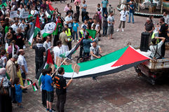 Demonstration for peace between Israel and Palestine, against the Israeli bombing in Gaza Royalty Free Stock Photo