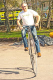 Demonstration of penny farthing bike Stock Photography