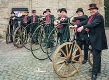 Demonstration  of penny-farthing riders during the Dickens Festi. Deventer, Netherlands – December 18, 2016: demonstration  of penny-farthing riders during the Stock Photography
