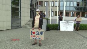 Olomouc, Czech Republic, May 15 , 2018: Demonstration of people against the Prime Minister Andrej Babis a banner with. Demonstration of people against the Prime stock video