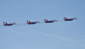 Demonstration performance of aviation group of aerobatics Milita Stock Image