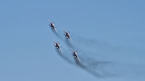 Demonstration performance of aviation group of aerobatics Milita Royalty Free Stock Photo