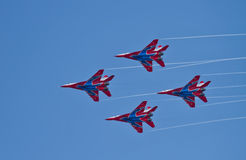 Demonstration performance of aviation group of aerobatics Milita Stock Photography