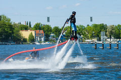 Demonstration performance at Flyboard Royalty Free Stock Photography