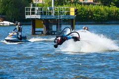 Demonstration performance at Flyboard Royalty Free Stock Photo