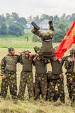 Demonstration performance of a military unit Vityaz during the celebration of Day of airborne troops of Russia in the Stock Photo
