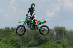 Demonstration performances on motorcycles. Races on rough terrain, take place annually at the former testing ground `Don-25`, Rostov-on-Don, Russia, At different Royalty Free Stock Photography