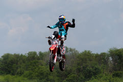 Demonstration performances of motorcyclists. Races on rough terrain, take place annually at the former testing ground `Don-25`, Rostov-on-Don, Russia, At stock images