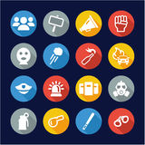 Demonstration Or Protest Icons Flat Design Circle Royalty Free Stock Images