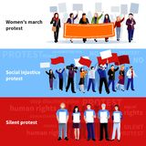 Demonstration Protest People Banners Royalty Free Stock Photo