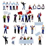 Demonstration Protest People Icons Set Stock Photography