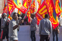 Demonstration and protests immigrants Royalty Free Stock Photo