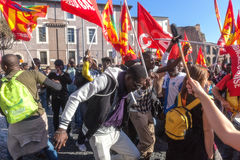 Demonstration and protests immigrants Stock Images