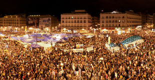 Demonstration on Puerta del Sol, Madrid, May 2011 Royalty Free Stock Photo
