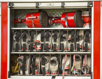 Demonstration of rescue equipment in fire engine Stock Photos