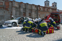 Demonstration of rescue services. First aid. Royalty Free Stock Photography