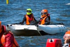 Demonstration rides on speedboats. BERLIN, GERMANY - MAY 03, 2014: Demonstration rides on speedboats. 2nd Berlin water sports festival in Gruenau Royalty Free Stock Image