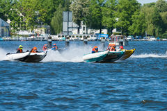 Demonstration rides on speedboats Royalty Free Stock Photo