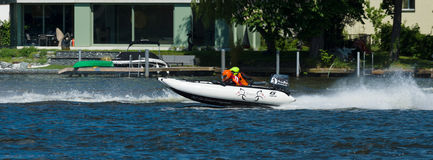 Demonstration rides on speedboats Stock Photos