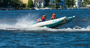 Demonstration rides on speedboats Royalty Free Stock Image