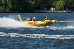 Demonstration rides on speedboats. BERLIN, GERMANY - MAY 03, 2014: Demonstration rides on speedboats. 2nd Berlin water sports festival in Gruenau Royalty Free Stock Images