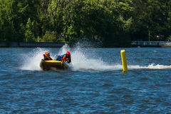 Demonstration rides on speedboats. BERLIN, GERMANY - MAY 03, 2014: Demonstration rides on speedboats. 2nd Berlin water sports festival in Gruenau Stock Photo