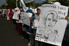 Demonstration Rohingya Myanmar in Indonesien lizenzfreie stockfotos