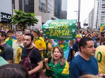 Demonstration in Sao-Paulo Pro-Dilma Rouseff ` s Anklage stockfoto
