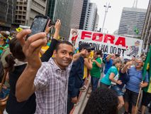 Demonstration in sao paulo pro Dilma Rouseff`s impeachment royalty free stock images