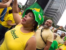 Demonstration in sao paulo pro Dilma Rouseff`s impeachment royalty free stock photos
