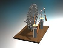 Wimshurst machine with two Leyden jars. 3D illustration of electrostatic generator. Physics. Science classrooms experiment. Demonstration of a scientific Royalty Free Stock Image