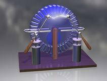 Wimshurst machine with two Leyden jars. 3D illustration of electrostatic generator. Physics. Science classrooms experiment. Demonstration of a scientific Royalty Free Stock Photo